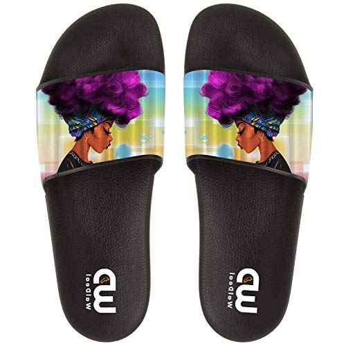 Cute Sandal Slide Hair For Slipper Ethnic African Purple Black With Women Shoes Indoor Women Summer Outdoor qw1qxTr