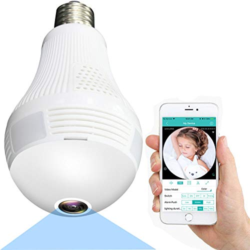 Light Bulb Camera, WiFi Home Monitor Surveillance Camera for Baby/Elder/Pet/Nanny Monitor, Wireless...