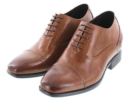 Calto Y4093-3.2 Pulgadas Taller - Zapatillas Elevadoras Que AuHombrestan La Altura - Zapatos De Vestir Con Cordones De Cuero Marrón