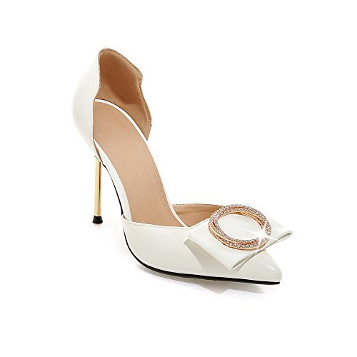 AmoonyFashion Womens High-Heels Solid Pull-on Patent Leather Pointed-Toe Sandals White hPYWX