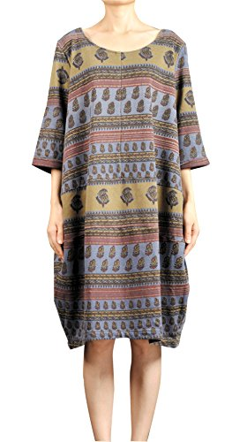 Mordenmiss Women's Ethnic Elbow Sleeve Knee High Baggy Dress Loose Pullover