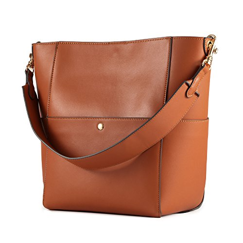 Kattee Women's Cowhide Leather Tote Shoulder Bag Hobo Handbag Shoulder Bucket Bag (Orange)