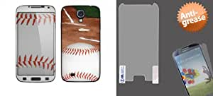 Combo pack Cellet Baseball Skin for Samsung Galaxy S4 And MYBAT Anti-grease LCD Screen Protector/Clear for SAMSUNG I337 (Galaxy S 4)
