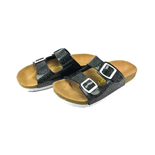 (Genesis Kids Casual Buckle Thong Strap Sandals Flip Flop Platform Footbed Trends Shoes (2, Black))