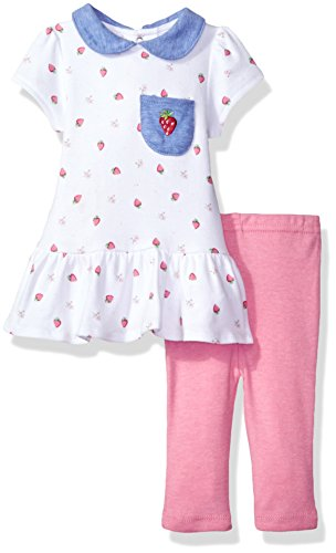 Rene Rofe Baby Baby Girls' 2 Piece Rear Snap Short Sleeve Dress and Legging Set, Pink Strawberries, 3-6 Months