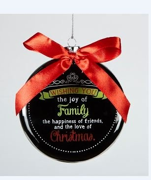 Glass Ornament - Chaulkboard Blessings 'Wishing You the Joy of Family...' Gift Boxed