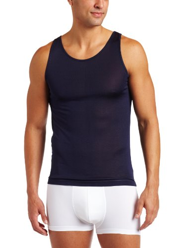 Mens Silk Knit Tank Top - Intimo Men's Classic Silk Knit Tank Top, Navy, Small