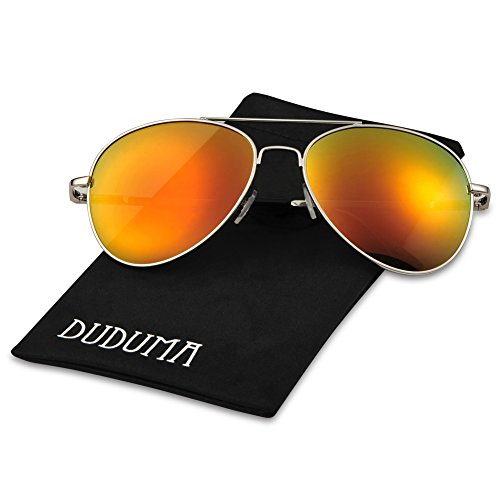 Duduma Premium Classic Aviator Sunglasses with Metal Frame Uv400 Protection (Silver7802, Gold red mirror - Lens Mirror Sunglasses Gold