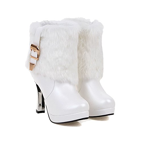 Solid Allhqfashion Blend White Closed Heels top Women's High Round Boots Low Materials Toe Bq8FB