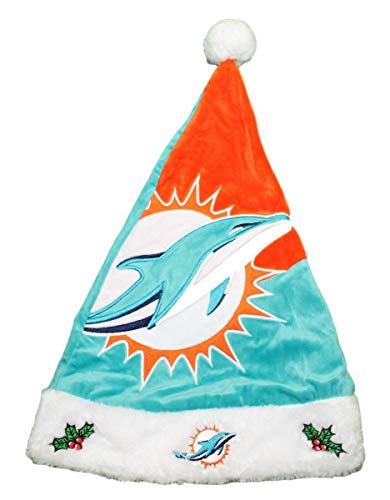 - Forever Collectibles Miami Dolphins 2018 NFL Basic Logo Plush Christmas Santa Hat