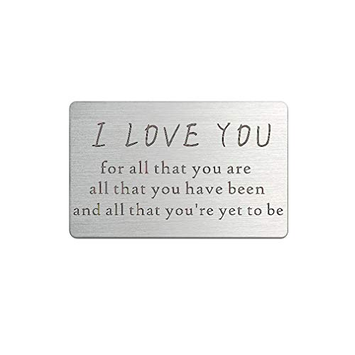Custom Wallet Insert Card Engraved I Love You Personalised Hand Stamped Wedding gift Groom Husband Boyfriend Present (I Love You Wallets Insert Card) by ZUNON