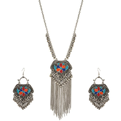 Oreleaa Fashion German Silver Afghani Dangler Earrings Pendant Necklace Set For Girls and -