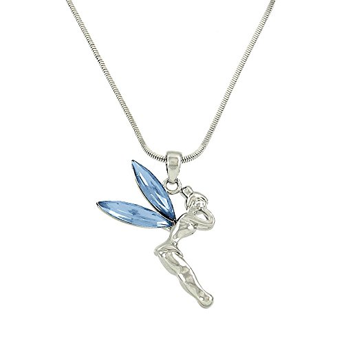 Liavy's Tinker Bell Fairy Charm Pendant Fashionable Necklace - Sparkling Crystal - 17