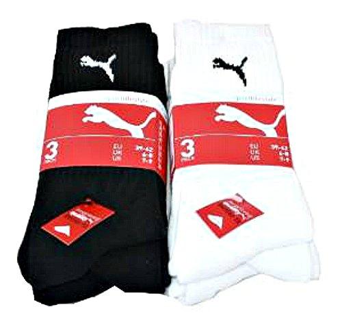 Puma 6 nbsp;paires Style Plus Sport De Noir weiß nbsp;taille Chaussettes 3 Blanc Schwarz Life Sports wSwZ1q5Ur