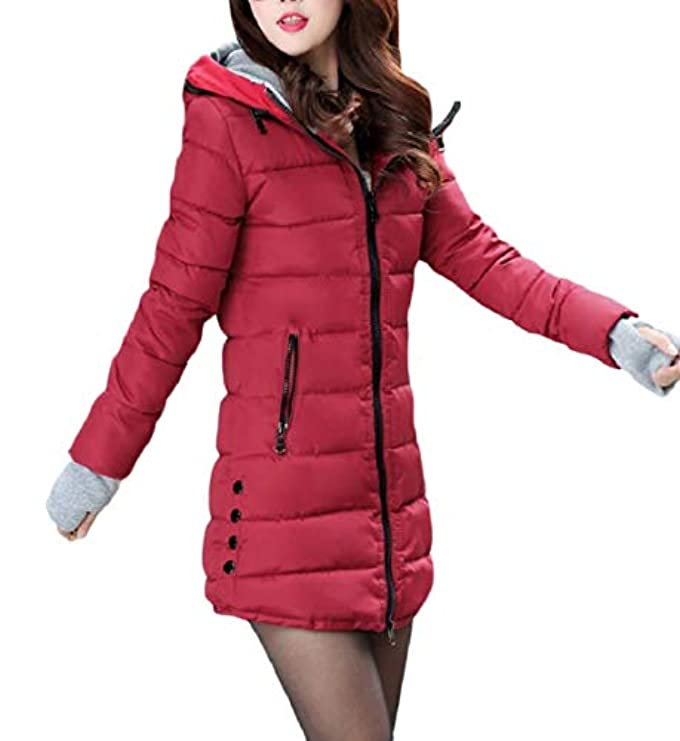 Trapuntato Parka Down ca Capispalla Addensare Cappotto Hooded Lkcen Jacket Zipper Women UY17nYxO