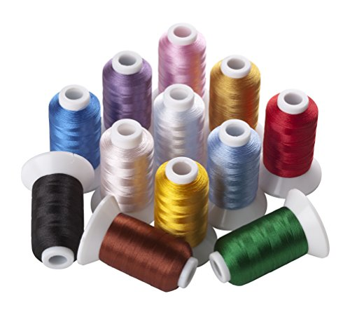 4 Freestanding Lace Machine Embroidery (12 Spools Polyester Embroidery Machine Thread Assorted Colors for Most Home Machines (500 Meters Each))