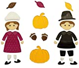 Impact Innovations Thanksgiving Reusable Gel Window Clings ~ Pilgrim Children, Pumpkins, Acorns, Fall Leaves (31 Clings, 1 Sheet)