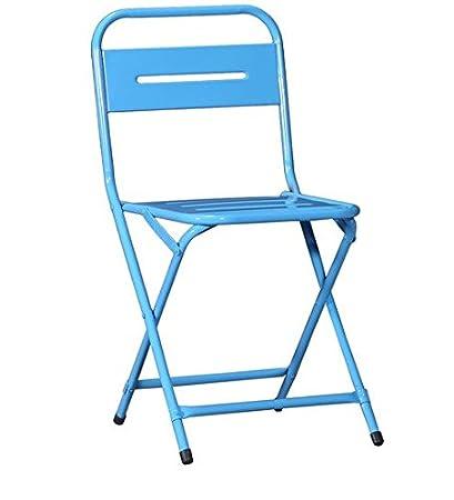 Stylish Folding Iron Chair In Blue