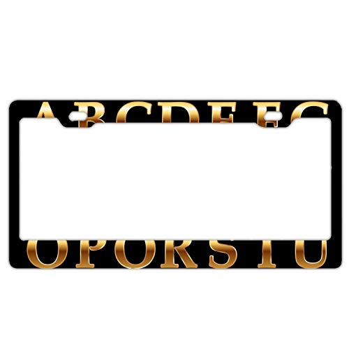 GREDBH Decor Car Vehicle License Plate Souvenir Metal Sign Plaque Gold Alphabet