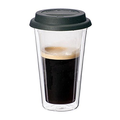 Glass Travel Coffee Mug with Lid - Double Wall Thermo Insulated Borosilicate Tumbler, For To Go Coffee Tea Hot Drinks Includes BPA-Free Silicon Travel Lid, 12 fl.oz