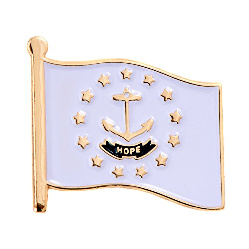 Rhode Island State Flag Lapel Pin Made of Metal Souvenir (Waving Flag Lapel Pin) (Rhode Lapel Pin Island)