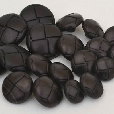 Trimming Shop Set Of 6 Classic Brown Plastic Buttons - Football Design Leather Look-Alike Black 20Mm ()