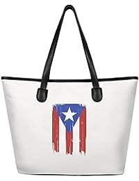 Women Puerto Rican Tat Flag Canvas Shoulder Bag Reusable Tote Bag for School