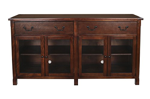 (New Classic Furniture 10-706-15C Entertainment Console, African Chestnut, 65-Inch,)