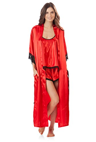 Ashford & Brooks Women's 3 Piece Satin Long Robe and Pajama Set - Red - - Pant Lace Duster Set
