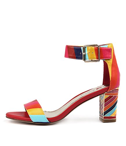 I LOVE BILLY NILLA Womens Shoes Ankle Strap Heels BRIGHT MULTI SMOOTH