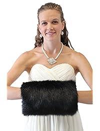 Tion Design Women's Faux Fur Hand muff Large, Black