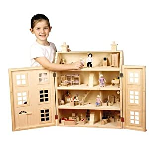 Wooden Dolls House With Furniture Toys Games