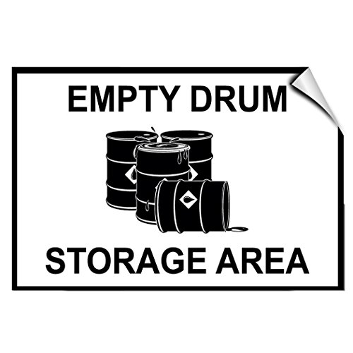 Empty Drum Storage Area Business Warehouse LABEL DECAL STICKER 20 inches x 28 inches