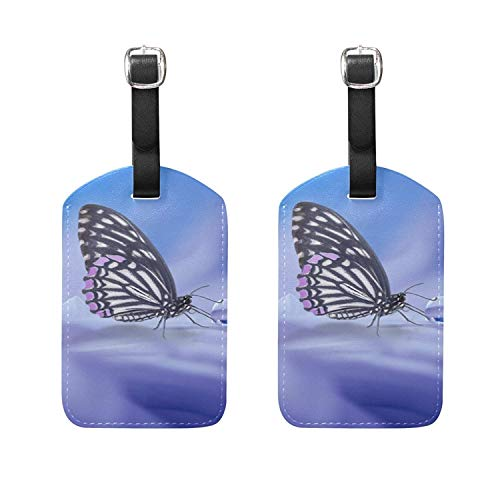Set of 2 Luggage Tags Early Morning Butterfly Suitcase Labels Travel Accessory