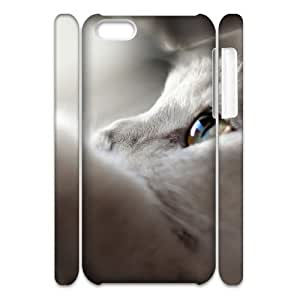 3D IPhone 5C Cases White Cat Looking Up, IPhone 5C Cases White Cat for Men, [White]