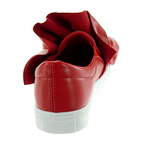 Talon Noeud Mode Slip 2 Rouge Chaussure Baskets Cm on Femme Tennis Angkorly 5 Plat wq8H0x