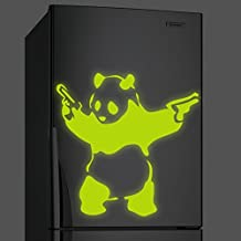 """( 24"""" x 24"""" ) Banksy Glowing Vinyl Wall Decal Panda with Pistols / Glow in Dark Graffiti Bear with Guns Sticker / Luminescent Mural + Free Decal Gift"""