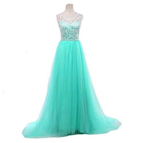 Lace Bodice Dress (Women's Ball Gown Lace Bodice Sleeveless Tulle Skirt Prom Evening Dresses L Mint)