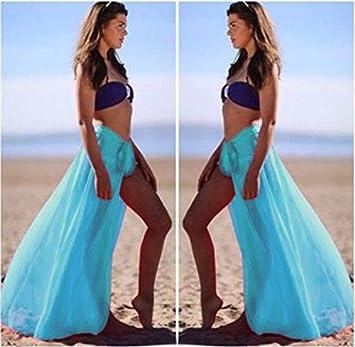 LHSTWQU Mujer Bikini Cover Up Traje de baño Falda Maxi Playa ...