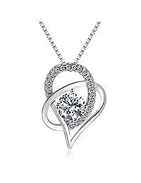 "Joyfulshine Women Sterling Silver ""Love You Forever"" Interlocking Heart Pendant Necklace"