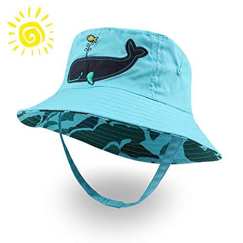 - XIAOHAWANG Baby Boy Bucket Toddler Kids Sun Hat UPF 50+ Wide Brim Outdoor Beach Caps Play hat (Whale, XXS(0-3 Months))