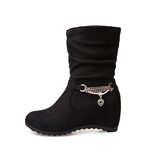 Pull Black Solid Top AmoonyFashion Heels Low Boots Imitated Womens On High Suede wqpxxPYXIO