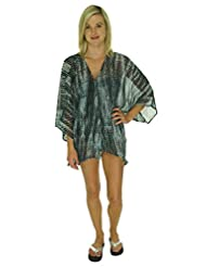 Raviya Tie Dye Crochet Back Kimono Bathing Suit Cover Up (S/M)