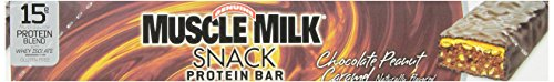 CytoSport Muscle Milk Snack Protein Bar, Chocolate Peanut Caramel, 45 g., pack of 12