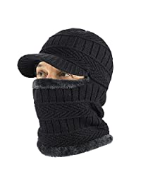 TAGVO Winter Knitted Balaclava Beanie Hat with Flexible Neck Warmer, Unisex Windproof Warm Ski Face Mask for Outdoor Sports