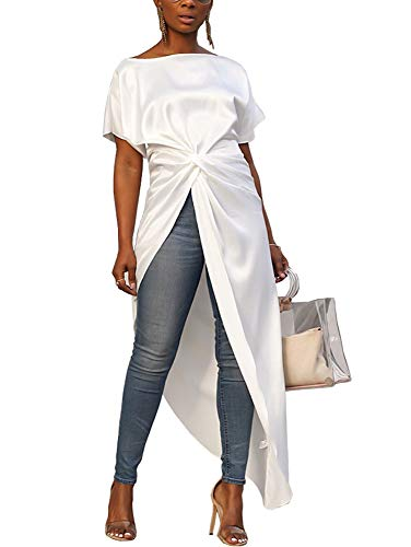 (Womens Asymmetric High Low Club Shirt Dress Short Sleeve Twist Front Blouses and Tops White 16 18)