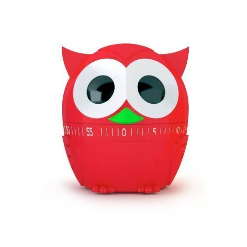Kikkerland Timer - Owlet 60 Minute Kitchen Timer - Red