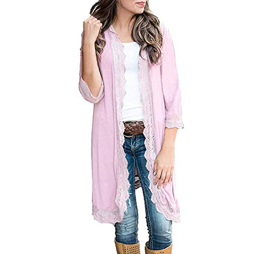 Fashion Women Clearance Cardigan Solid Lace Patchwork Flash Sleeve Shawl ()