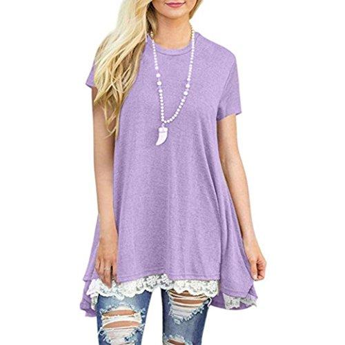 Women Shirt Dress Short Sleeve,Lelili Fashion Lace Patchwork Crewneck Pleat Swing Blouse Tops Sweatshirt (M, Purple 2)