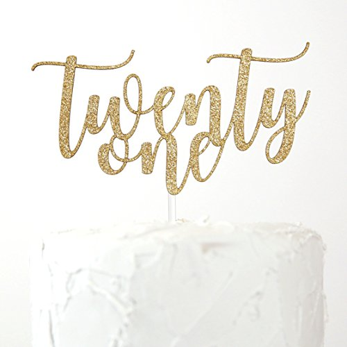 NANASUKO 21st Birthday Cake Topper - twenty-one - Premium quality Made in USA